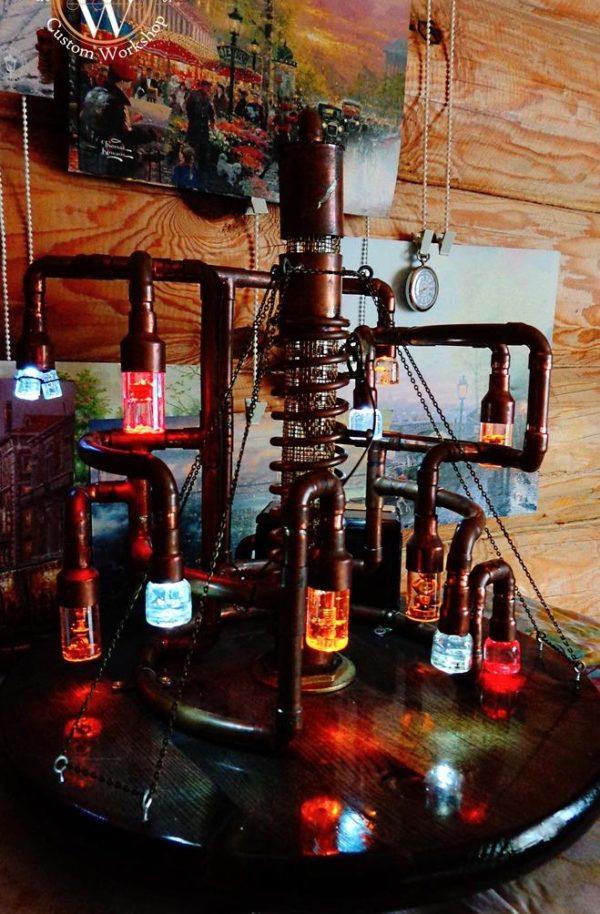 glass , epoxy , лампа из меди , copper lamp , лампа , DIY , handmade , настольная лампа , marcowood