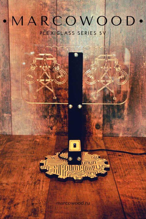 plexiglas , handmade , marcowood , настольная лампа , светильник , ночник