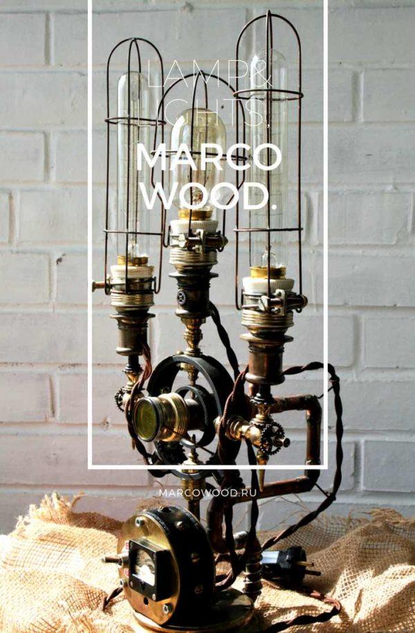 steampunk lamp , marcowood , desk lamp ,освещение , настольная лампа , стимпанк