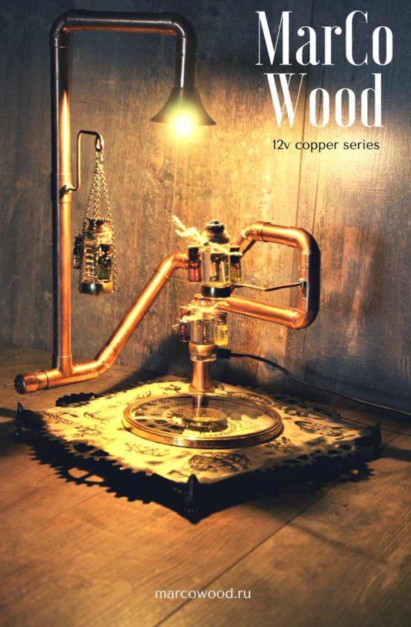 diy lamp , industrial light , steampunk lamp , marcowood , desk lamp ,освещение , настольная лампа , стимпанк