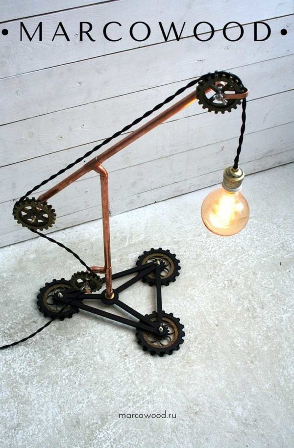 copper lamp , diy lamp , industrial light , steampunk lamp , marcowood , desk lamp ,освещение , настольная лампа , стимпанк